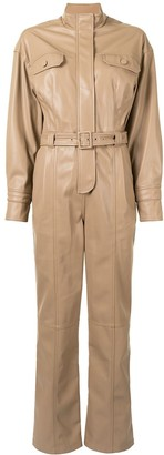 Jonathan Simkhai Belted Faux-Leather Boiler Suit