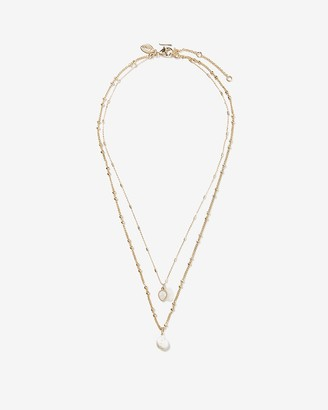 Express Two Row Cubic Zirconia Pearl Drop Necklace