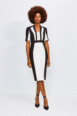 Karen Millen Colour Block Sleeved Envelope Dress