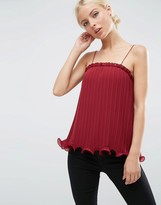 Asos Pleated Cami Top with Ruffle Hem