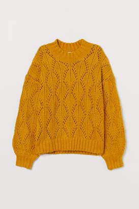 H&M Lace-knit Sweater - Yellow