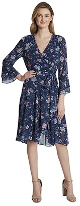 Tahari ASL Smocked Wrap Dress (Navy/Pink Lilac) Women's Dress