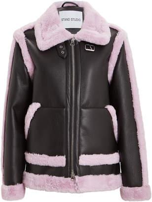 Stand Lindsey Faux Fur-Trimmed Vegan Leather Jacket