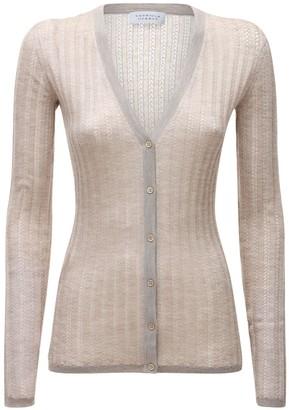 Gabriela Hearst V Neck Cashmere & Silk Rib Knit Cardigan