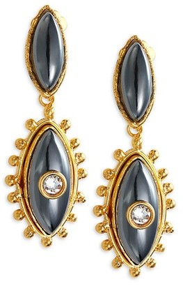 Sylvia Toledano Third Eye Goldtone, Hematite & Swarovski Crystal Drop Earrings