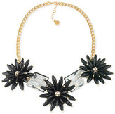 Trina Turk Gold-Tone Black Flower and Crystal Nugget Statement Necklace