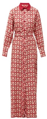 F.R.S For Restless Sleepers Elpis Circle-print Silk-twill Shirt Dress - Pink Multi