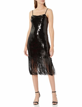 Donna Morgan Women's Stretch Sequin Sleeveless Fringe Hem Dress