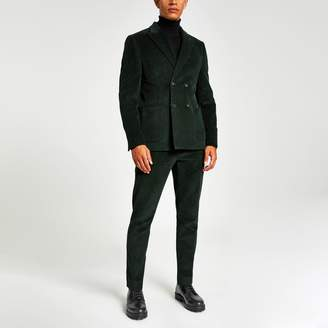 River Island Mens Green cord skinny suit trousers