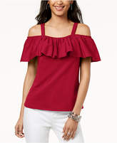 INC International Concepts I.n.c. Petite Cold-Shoulder Ruffle Top, Created for Macy's