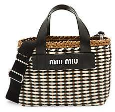 Miu Miu Women's Intreccio Leather Tote