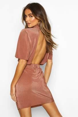 boohoo Plisse High Neck Mini Dress