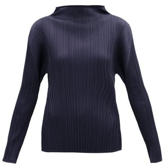 Pleats Please Issey Miyake High-neck Technical-pleated Top - Navy