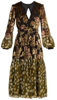 Rochas Tiered Velvet Devore Midi Dress - Black Multi