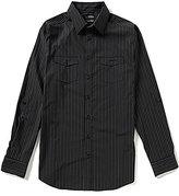 Murano Wardrobe Essentials Big & Tall Rolled-Tab-Sleeve Striped Sportshirt