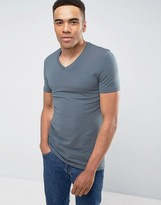 Asos Muscle Fit T-Shirt With V Neck And Stretch In Blue