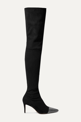 Alexandre Vauthier Helena Crystal-embellished Suede Thigh Boots - Black