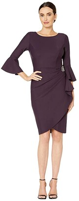 Alex Evenings Short Slimming Dress with Bell Sleeves (Aubergine) Women's Dress