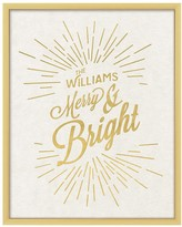 Personalized Gold Merry & Bright Framed Canvas