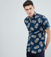 Burton Menswear Big & Tall regular fit shirt with pineapple print in navy