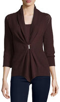 Neiman Marcus Open-Weave Buckle-Front Cashmere Cardigan