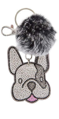 Bari Lynn Crystal Bulldog Keychain With Fur Pom Pom