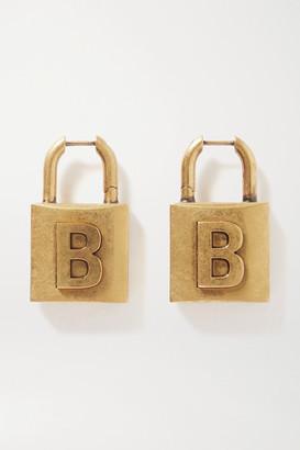 Balenciaga Lock Embossed Gold-tone Earrings