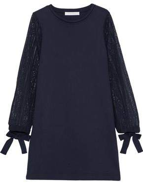 See by Chloe Lace-paneled Cotton-fleece Mini Dress