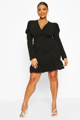 boohoo Plus Crepe Volume Sleeve Ruffle Hem Mini Dress