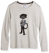 Karl Lagerfeld Cool Cat Long-Sleeve Melange Jersey Tee, Medium Gray, Size 6-10