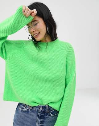Asos Design DESIGN fluffy jumper in rib-Green