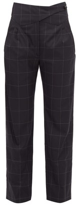 BLAZÉ MILANO Chacco Kid Windowpane-check Wool Trousers - Womens - Navy Multi
