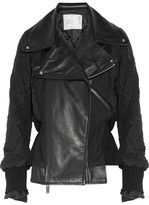 Sacai Leather-paneled Quilted Shell Jacket - Black