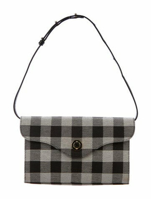 Mansur Gavriel Gingham Mini Baguette Shoulder Bag Black