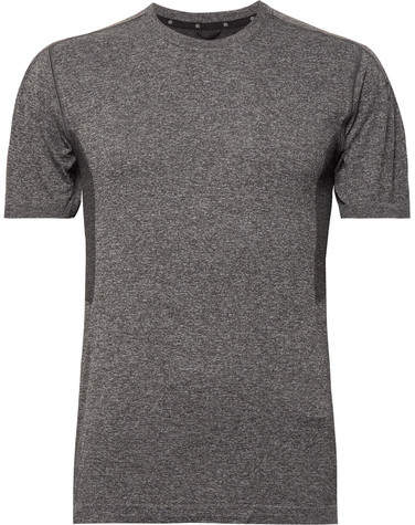 Reigning Champ Performance Mesh-Panelled Melange Jersey T-Shirt - Men - Charcoal