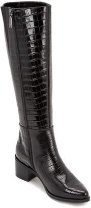 Blondo Elodie Leather Croc-Embossed Waterproof Knee High Boot