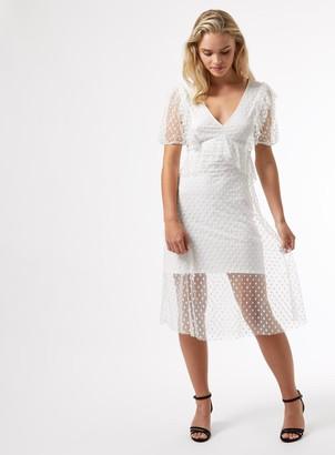 Miss Selfridge PETITE White Mesh Ruffle Midi Dress