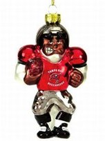 Evergreen Tampa Bay Buccaneers Blown Glass Football Player Ornament
