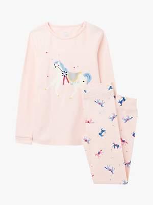 Joules Little Joule Girls' Sleep Well Horse Print Pyjamas, Pink