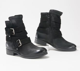 Miz Mooz Leather Buckle Wide Width Ankle Boots -Shane