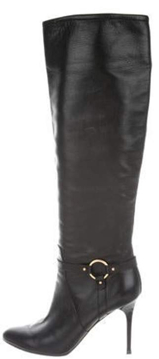 2ab23570920 Leather Over-The Knee Boots Black Leather Over-The Knee Boots