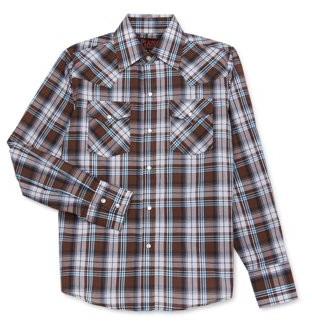 Plains Western Wear Plains Boys Long Sleeve Button Down Plaid Shirt, Sizes 4-16