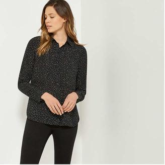 Joe Fresh Women's Print Button-Front Shirt, Black (Size M)