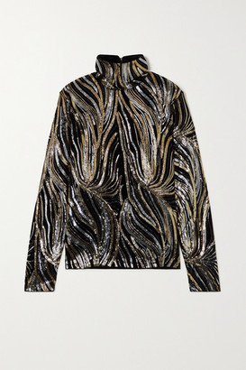 Dries Van Noten Sequin-embellished Velvet Turtleneck Top - Black