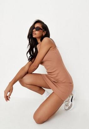 Missguided Tan Rib Wide Neck Sleeveless Mini Dress