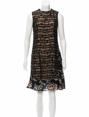 Dries Van Noten Embellished Knee-Length Dress Tan