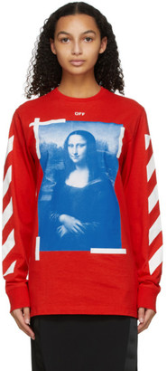 Off-White Red Mona Lisa Long Sleeve T-Shirt