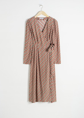 And other stories Fan Print Wrap Dress