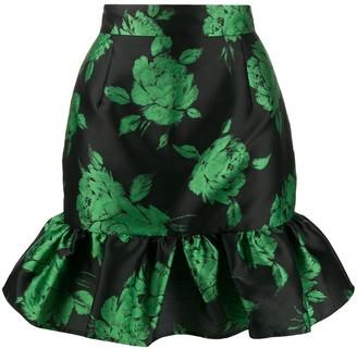 MSGM Floral Flounce Skirt