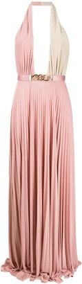 Elisabetta Franchi plunge pleated gown